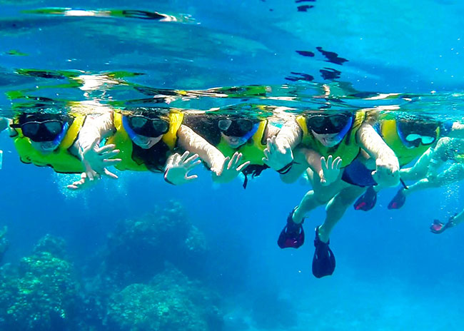 Cathy and her friends snorkeling over the marine life in Cozumel Mexico.