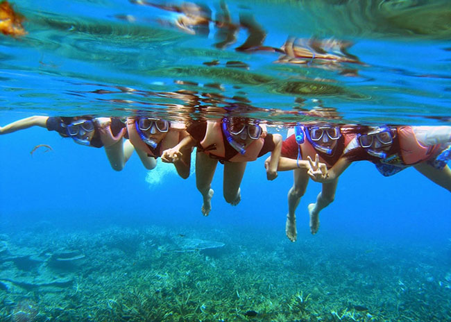 Sarah and her friends holding hands and snorkeling in the blue waters of a coral reef.